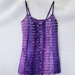 ENERGIE shades of purple sheer ruffle top ✔small